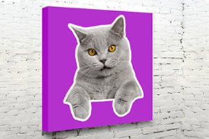 cutout art purple cat